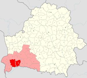 Кобринский и Дрогичинский районы Брестской области на карте Беларуси
