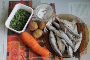 Продукты для второго завтрака и обеда (рыбного супа)