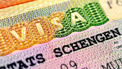 Шенгенская виза крупным планом в паспорте