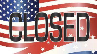 """Флаг США с надписью """"закрыто"""""""