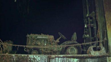 Фото тягача с палубы затонувшего авианосца Хорнет