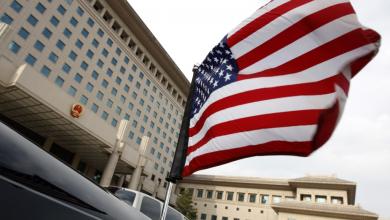 флаг США на машине американской делегации