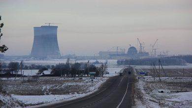 Дорога на фоне строительства БелАЭС