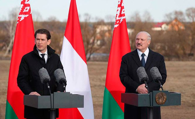 Александр Лукашенко и Себастьян Курц в ходе прессконференции