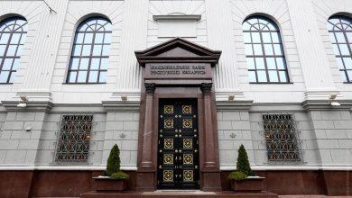 Главный вход в здание Национального банка Беларуси