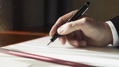 подписание документа, ручка