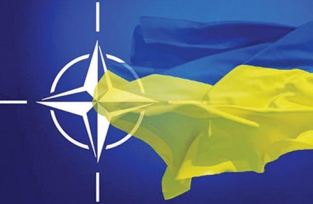 Флаг Украины на воне знмени НАТО