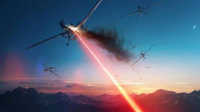 Лазерный луч жжёт беспилотник