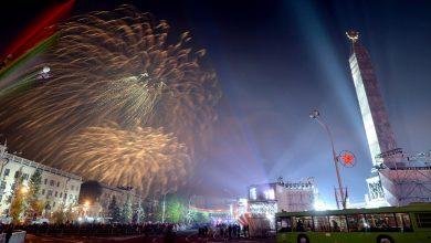 Праздничный салют в Минске на День Победы