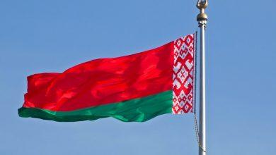 Государственный флаг Республики Беларусь развивается на ветру