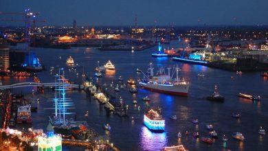 Порт гамбурга в вечернее время