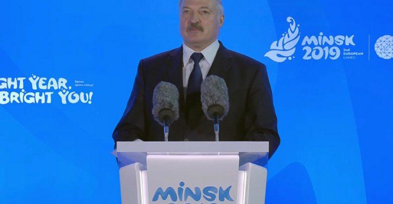 Александр Лукашенко выступает на церемонии открытия Европейских игр с речью