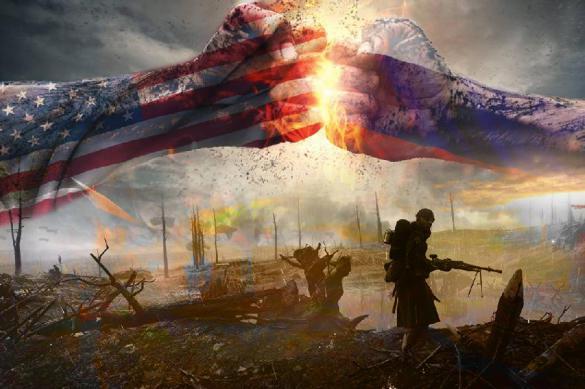 Поле боя на фоне двух кулаков окрашенных во флаг США и России