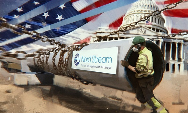 Труба северного потока на фоне конгресса США