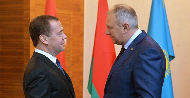 премьер-министры Беларуси и России Сергей Румас и Дмитрий Медведев