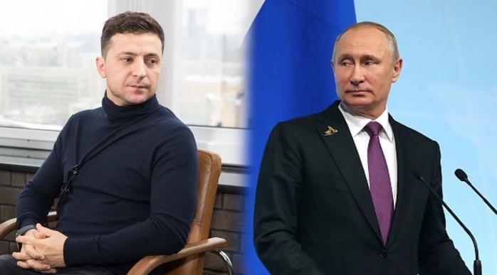 Президент украины Зеленский и президент России путин на совмещённом фото