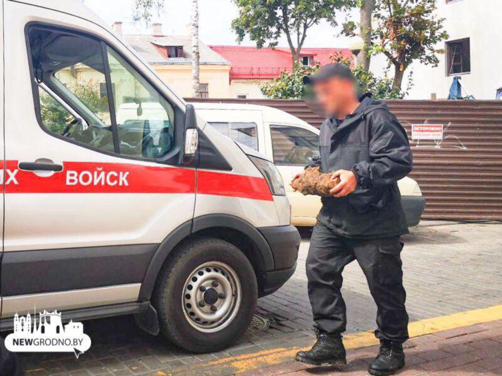 В центре Гродно обнаружен снаряд времён Великой Отечественной войны