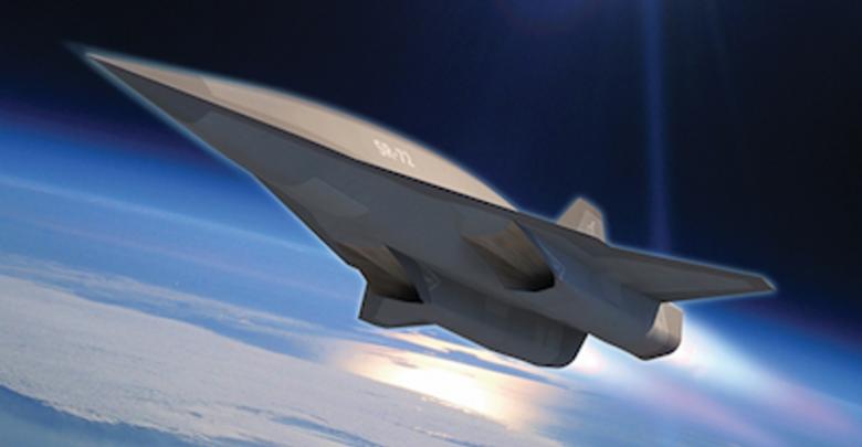 футуристический самолёт будущего на околоземной орбите
