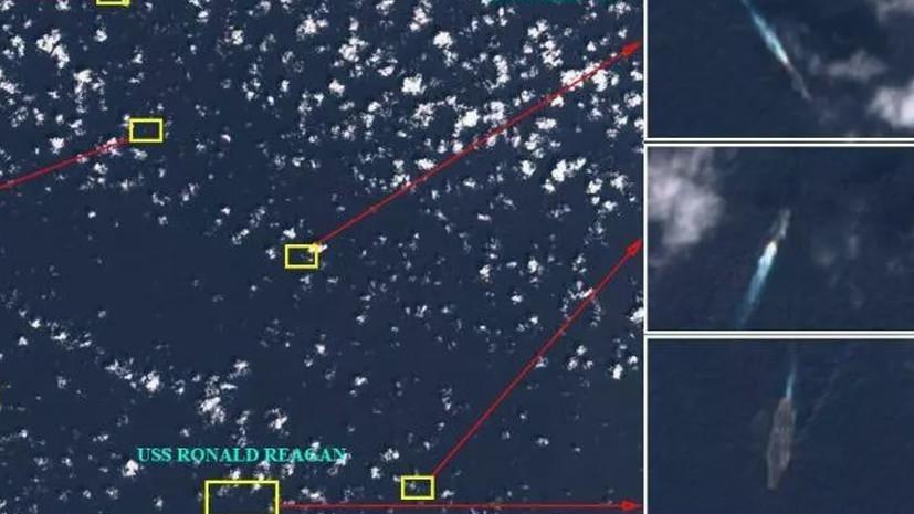 Фото со спутников на котором видно окружение авианосца США китайским военными кораблями