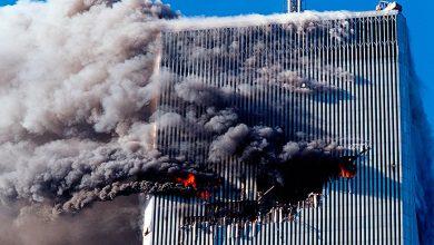 Небоскреб горящий 11 сентября в Нью-Йорке