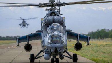 Вертолёт ми-35 на взлётной полосе