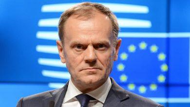 Дональд Туск на фоне флага ЕС