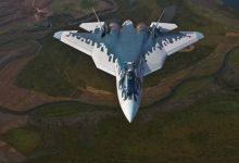 Самолёт пятого поколения россии су-57 в полёте
