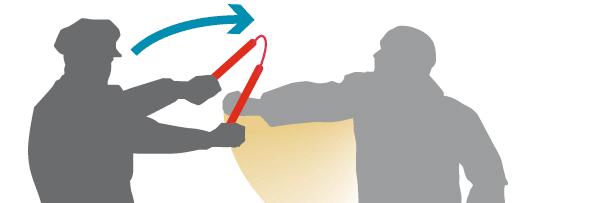 Иллюстрация использования нунчаков для задержания преступников