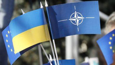 флаги Украины, НАТО и ЕС