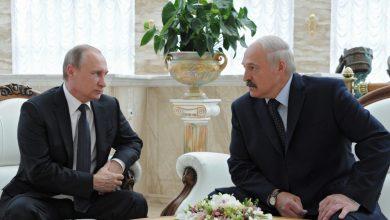 президенты Беларуси и России Александр Лукашенко и Владимир Путин