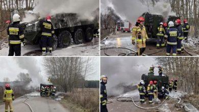 Сгоревший БТР в Польше