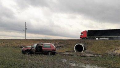 В Щучинском районе две легковушки вылетели в кювет из-за сильного ветра