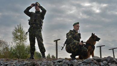 Белорусские пограничники с собакой