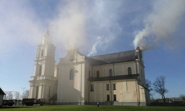 В Будславе загорелся костел