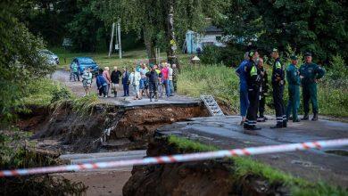 Photo of ГАИ Минской области дежурит на размытых из-за дождей участках дорог