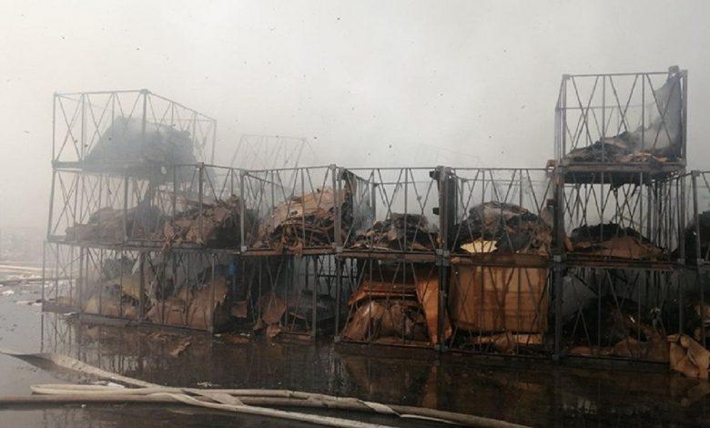 На территории завода «БЕЛДЖИ» произошел пожар