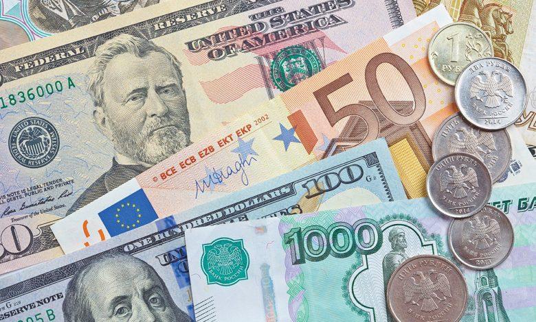 валюта, доллары, евро, российские рубли, валютные торги